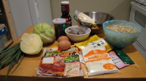 Okonomiyaki kit in all its splendor.  Plus the extra ingredients not in the kit.