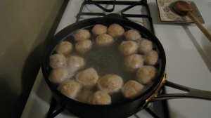 Did y'all notice I only own three pots? Bet you didn't know you can make matzo balls in a sautee pan!  Thanks, Necessity!